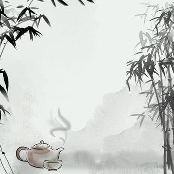 インクの背景 竹の背景 中華風の背景 木の板の背景 , お茶, 茶葉, 木の板の背景 背景画像