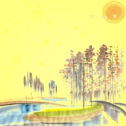 Ink autumn eve hand drawn yellow PSD Maple Wheat Фоновое изображение