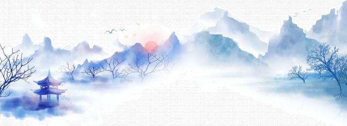 山水 涼亭 船隻 大雁, 背景, 家居, 海報 背景圖片