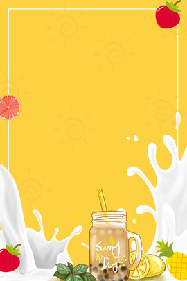 milk tea poster milk tea apple cherry , Apple, Cherry, Tea Poster Фоновый рисунок