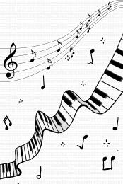 鋼琴 音符 黑白 圓形 , 海報, 圓形, 黑白 背景圖片
