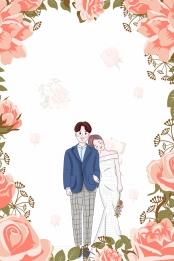 خلفية وردية زهور القادمون الجدد من الرسوم المتحركة منشورات الزفاف , استوديو صور الزفاف, خلفية, المواد صور الخلفية