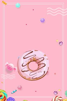 甜甜圈 鮮花插畫 蜜蜂 食品促銷單張 , 產品彩頁, 鮮花插畫, 菜譜 背景圖片
