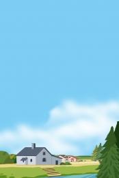 鄉村 田野 藍色 清新背景 , 鄉村田野藍色清新背景, 稻田, 藍色 背景圖片