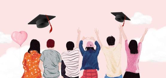 School Graduation Season Flying Dream Balloon Dreamy Pink Background, Campus, Graduation Season, Bachelor Cap, Background image