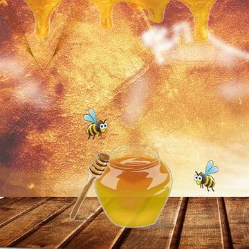簡約背景 黃色背景 蜂蜜背景 蜜蜂 , 主圖, 零食, 木板 背景圖片