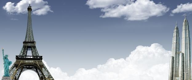 minimalism sky background road background paris tower, Sky Background, Clothing Promotion, Promotion Imagem de fundo
