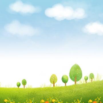 小清新 素雅 藍天 白雲 , 藍天, 白雲, 飄葉 背景圖片