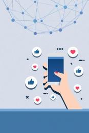 小清新 簡約 手機 廣告 , 幾何圖形, 互聯網交流, 藍色 背景圖片