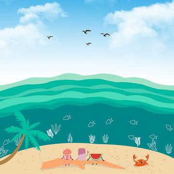 small fresh beach background print background , Small Fresh, Beach, Minimalist Background image