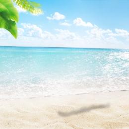 小さな新鮮なビーチの背景 ビーチの素材 ココナッツの木 青い空 , Psd層状, メインマップの背景, 白い雲 背景画像