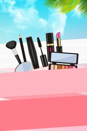 small fresh fashion make up poster design , Embroidery, Eyebrows, Eyebrows Background image