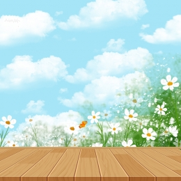 spring and summer new fashion promotion main map , Simple, Small Fresh, Wooden Board Background image