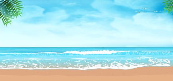 青い空 緑の葉 美しさ シアン 夏背景素材ダウンロード 海洋 緑の葉 背景画像