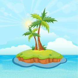夏の島のココナッツの木 夕暮れ サンラウンジャー ビーチ, テンプレート, 夏の島のココナッツの木, 自然 背景画像