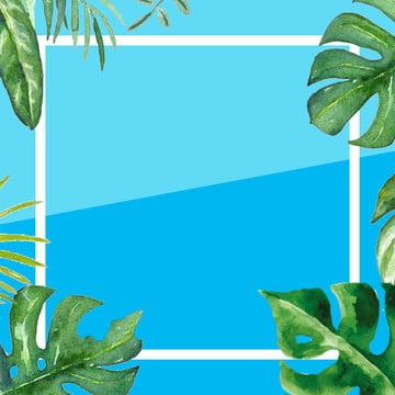 夏の背景 青い背景 緑の植物 ミニマルな背景 , 水着, メイン画像, ミニマルな背景 背景画像