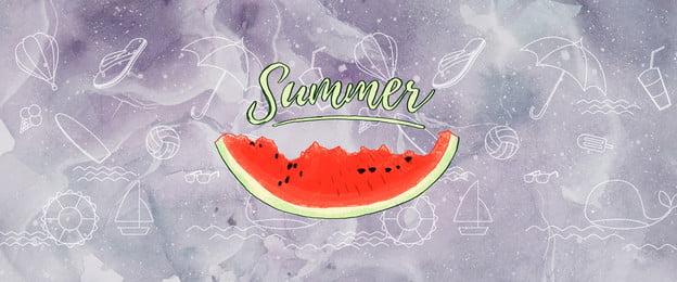 夏天 summer 小清新 簡約, 夏天, 手繪, 背景 背景圖片