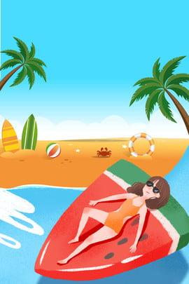 泳裝海報 比基尼海報 泳衣展板 沙灘 海邊休閒 沙灘 夏季出游海邊旅遊比基尼海報背景素材背景圖庫