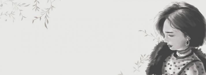 淘寶 服裝 花店 促銷, 溫馨, 活動, 淘寶服裝花店灰白文藝清新海報背景 背景圖片