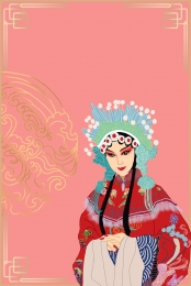 the face of simple peking opera culture , Peking Opera, Non-legacy Culture, Opera Background image