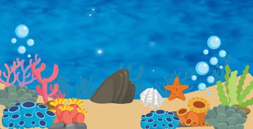 水中世界 展示会ボード 背景サメ 漫画, 背景サメ, 背景素材, 展示会ボード 背景画像