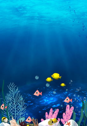 Underwater world fishing darling poster background material , Undersea, World, Fishing Background image