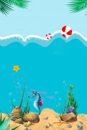 Vector cartoon ocean underwater world advertising background , Cartoon, Ocean, Undersea World Background image