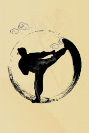 vector ink ancient chinese kung fu silhouette figures background , Hand-painted, Chinese Style, Retro Background image