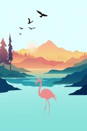 thiên nhiên hồ và núi động vật tự nhiên sếu , Nền, Thiên Nhiên, Cảnh Quan Thiên Nhiên Ảnh nền