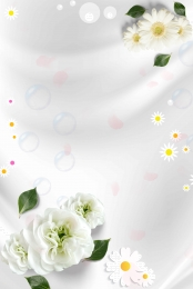 White Flowers Simple Cosmetics Shop Home Background, White Flowers, Minimalistic Background, Literary Background, Background image