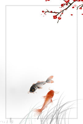 ancient style  classical fish  ink background , Ancient Style, Classical, Fish Background image
