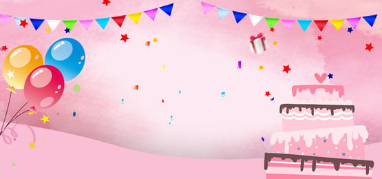 Birthday Party Color Hand Drawn Banner, Birthday, Party, Birthday Cake, Background image