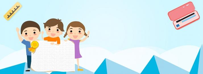 漫画 子供っぽい 線画 文字 , 机, キャンパスブルー漫画冬休みクラス登録ポスターバナー, かわいい 背景画像