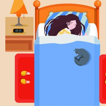 Cartoon Hand Drawn Goodnight Girl Background, Cartoon, Hand Drawn, Good Night, Background image