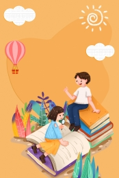 Cartoon Reading Time Reading Moment Cartoon Children S Reading Children S Books Background Image For Free Download