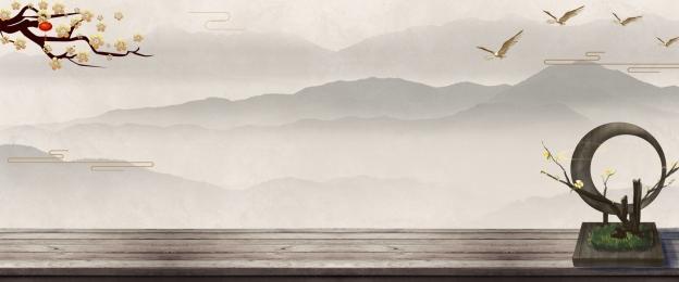 中國風 中式別墅 地產 房地產 山水 地產 新中式背景圖庫