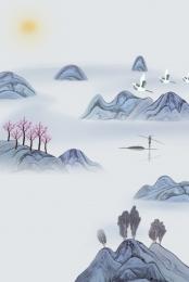 中国風 水墨画 風景 清明祭 清明 中国風 禅 背景画像