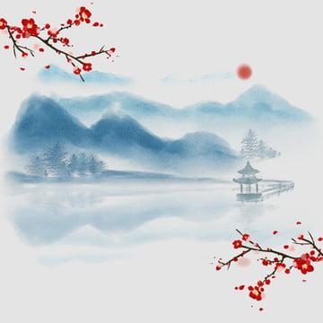 中国風の背景 中国風 インクの背景 風景の背景 , 研究の4つの宝物, インクの背景, 淘宝網 背景画像