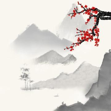 चीनी शैली पृष्ठभूमि स्याही पृष्ठभूमि परिदृश्य पृष्ठभूमि लाल बेर , परिदृश्य, मुख्य मानचित्र, ट्रेन के माध्यम से पृष्ठभूमि छवि
