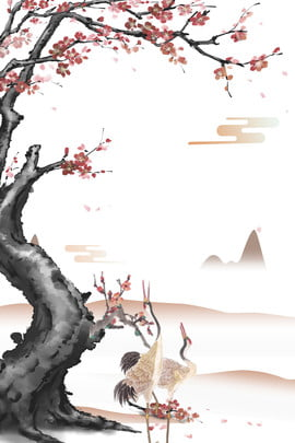 Chinese Wind And Plum Plum Water Element, Chinese Style Ink, Ink, Ink Circle, Background image
