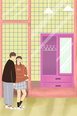 city street life shopping , Life, Promotional Poster, Character Фоновый рисунок