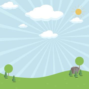 평면 봄 풍경 푸른 하늘 , 구름, 봄, 땅 배경 이미지