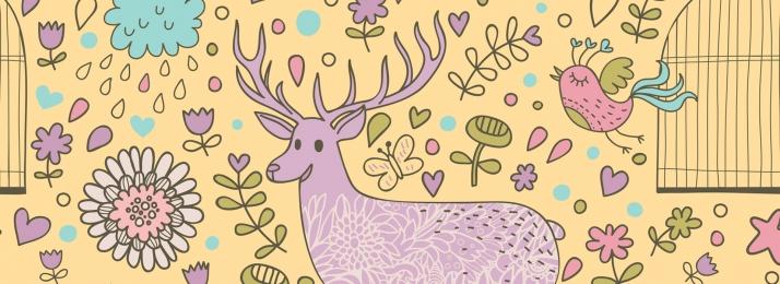 신선한 손으로 그린 여름 프로모션 엘크, 여름 프로모션, 꽃, 여행 배경 이미지