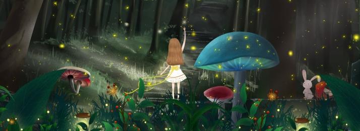 forest plant comic book dream, Dreamland, Woods, Girl Фоновый рисунок