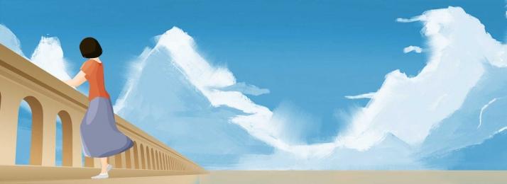 新鮮なイラスト 手描きの背景 青い空はしご 太陽の気分, 手描きの背景, 青い空はしご, 気分 背景画像
