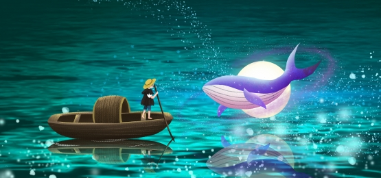 girl playing in the moonlight, Sea Gradient, Sea Water Dream, Dream Play Background image