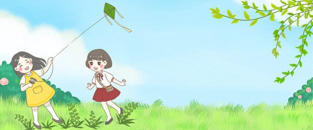 green spring travel character flying kite background, Green, Spring Tour, Character Background image