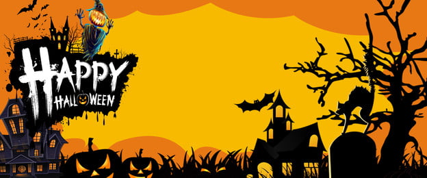 halloween party pumpkin horror yellow background, Carnival Night, Horror Poster, Halloween Display Stand Background image