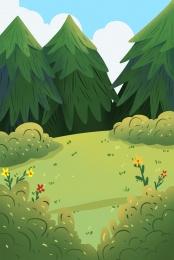 meadow lawn grass lawn hand drawn lawn , Grass Lawn, Walking, Spring Is Coming ภาพพื้นหลัง