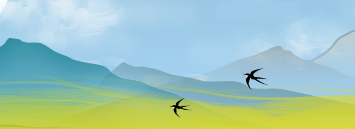 hand painted spring rapeseed mountain, Bright, Swallow, Mountain Imagem de fundo
